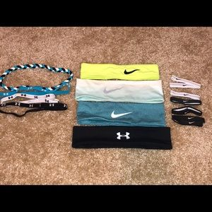3 Nike, 4 UA headbands. 7 Nike pony holders